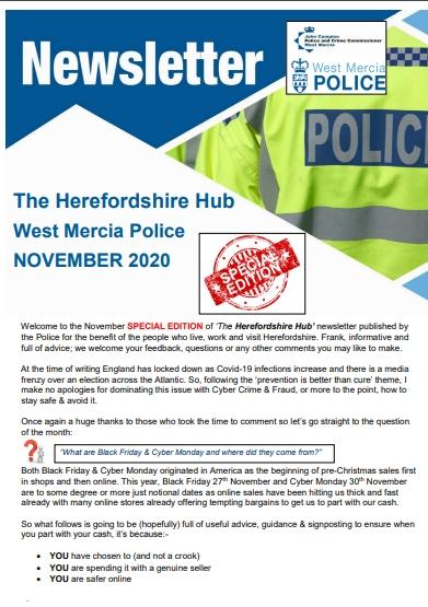 West Mercia Police November 2020 newsletter
